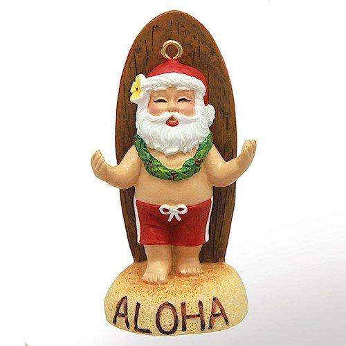 Island Heritage Santa's Longboard Hawaiian Christmas Ornament