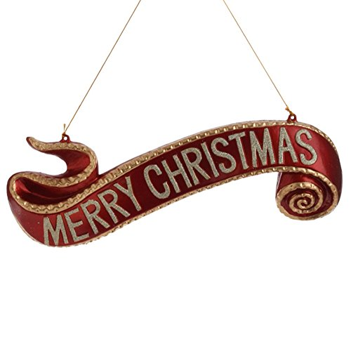 Large Red and Gold Merry Christmas Scroll Banner Tree Ornament, 7 Inch X 15.5 Inch