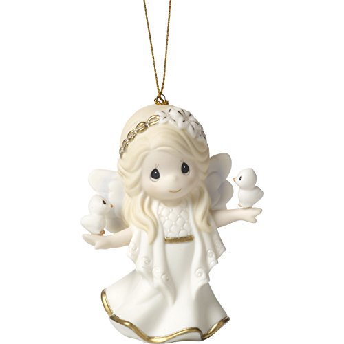 Precious Moments Holiday Christmas Bisque Porcelain Hanging Ornament with S-Hook (In His Perfect Peace And Love, 171028)
