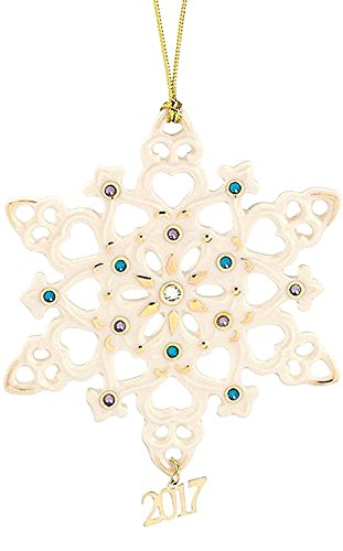 Lenox 2017 Annual Gemmed Snowflake Ornament Blue Crystals Gold Christmas