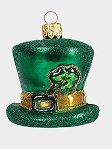 Green Irish Hat with Shamrock Polish Mouth Blown Glass Christmas Ornament