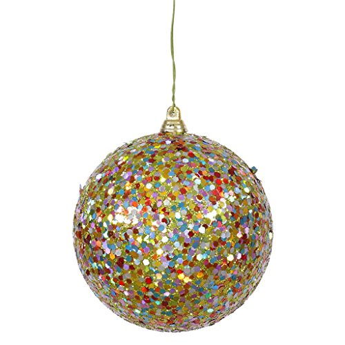Vickerman 31684 – 4″ Lime Multi-Color Sequin Glitter Ball Christmas Tree Ornament (J130013)