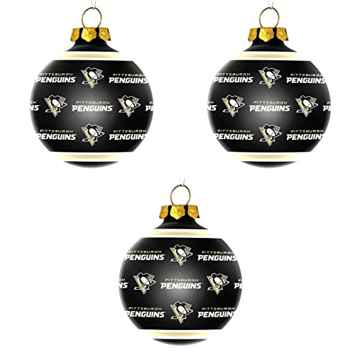 NHL Pittsburgh Penguins Repeat Glass Ball Christmas Ornament Bundle 3 Pack By Forever Collectibles