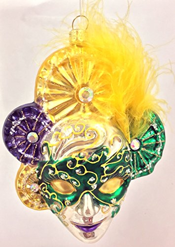 Purple and Green Venetian Mask with Feather Polish Glass Christmas Ornament