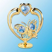 24K Gold Plated Butterfly In Heart Free Standing – Blue – Swarovski Crystal