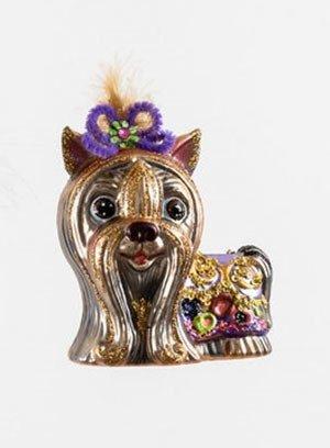 Yorkie Blown Glass Ornament