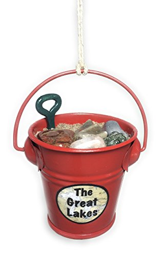 3.25 inch Whimsical Great Lakes Sand and Beach Pebbles Pail Ornament
