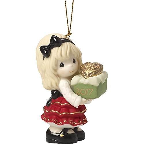 Precious Moments Holiday Christmas Bisque Porcelain Hanging Ornament with S-Hook (May the Gift of Love be Yours This Season (2017) 171002)