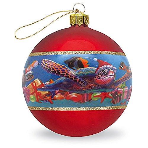 HAWAIIAN TROPICAL HONU SEA TURTLE CHRISTMAS GLASS GIFT ORNAMENT NEW 2017
