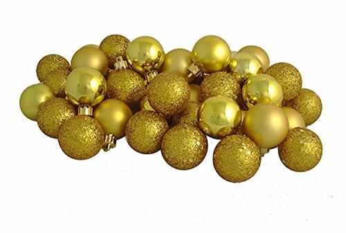 Vickerman 16ct Golden Yellow Shatterproof 4-Finish Christmas Ball Ornaments 3″ (75mm)
