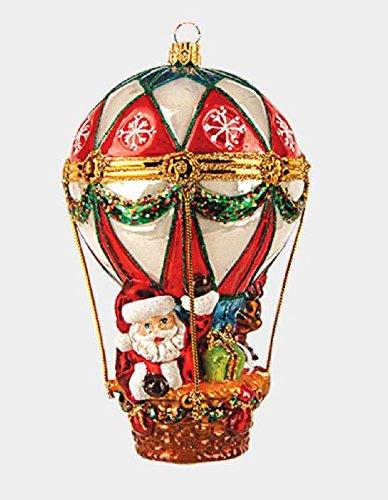 Santa in Hot Air Balloon Polish Glass Christmas Tree Ornament Holiday Decoration