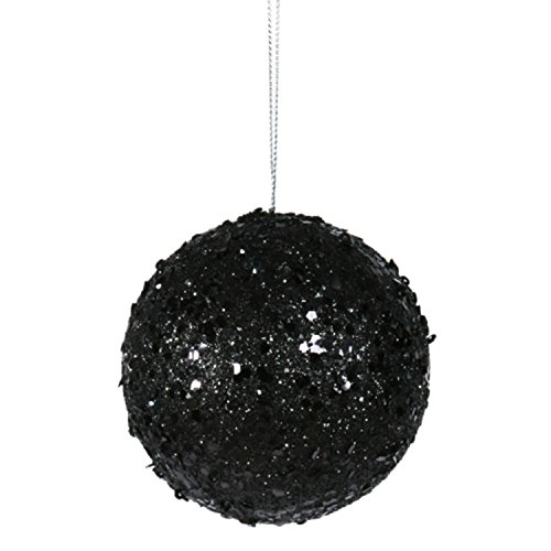 Vickerman Fancy Black Glitter Drenched Christmas Ball Ornament 3″ (80mm)