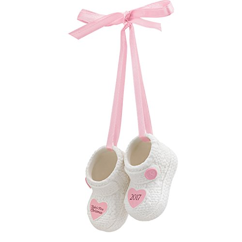 Carlton Ornament 2017 Baby's First Christmas – Girl – Porcelain Booties CXOR007M