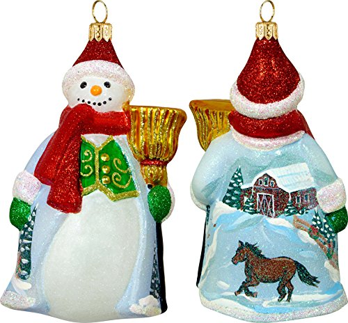Glitterazzi Snowy Barn Scene Snowman Ornament by Joy to the World