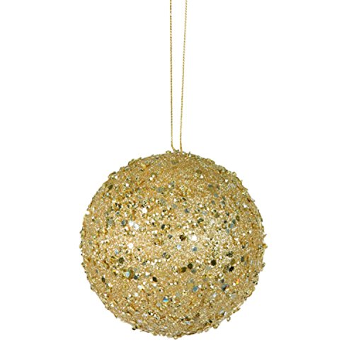 Vickerman Fancy Gold Holographic Glitter Drenched Christmas Ball Ornament 3″ (80mm)