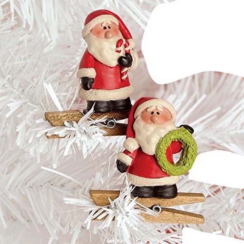 Set of 2 Santa Claus with Candy Cane and Wreath Christmas Ornament Clips, 2 Inch