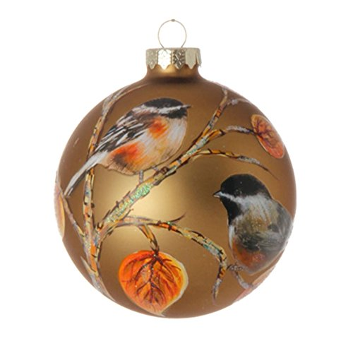 Golden Chickadee Bird on Branches Glass Ball Christmas Tree Ornament, 4 Inches