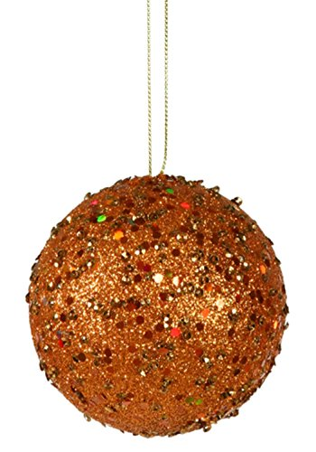 Vickerman Fancy Orange Holographic Glitter Drenched Christmas Ball Ornament, 4″
