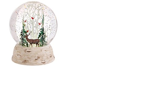 Raz Imports Deer and Cardinals in Winter Forest LED Lit Snow Globe Water Dome 6″