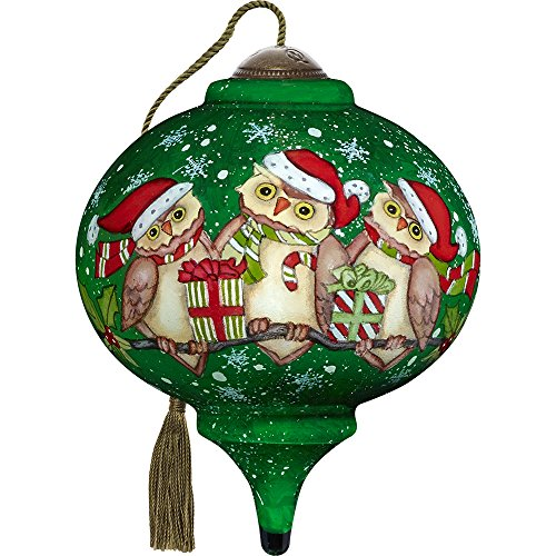 Precious Moments, Ne'Qwa Art 7171141 Hand Painted Blown Glass Petite Marquis Shaped Christmas is A Hoot With You Owls in Santa Hats Ornament, 3-inches