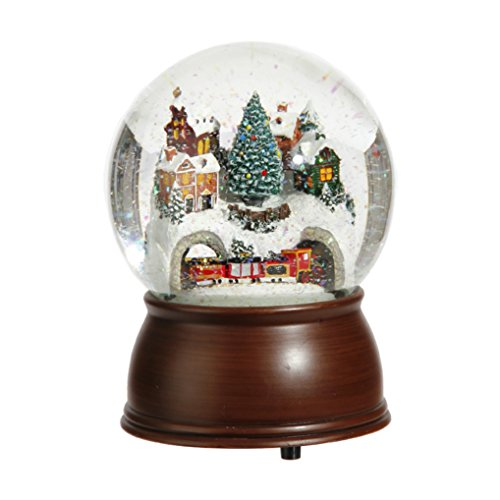6.5-inch Musical House and Moving Train Snowglobe
