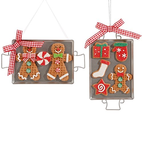 RAZ Imports 6″ Cookie Sheet Gingerbread Ornament (Set of Two)