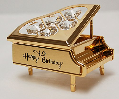 """""""Happy Birthday"""" 24k Gold Plated Piano Free Standing with Clear Swarovski Crystal"""