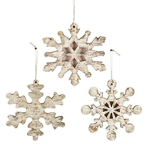 Snowflake Distressed Silver Glitter 4 x 4 Wood Christmas Ornament Set of 3