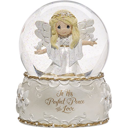 Precious Moments In His Perfect Peace And Love Seventh in Annual Angel Series Resin/Glass Musical Snow Globe 171107