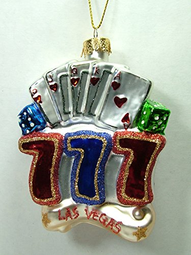 Glass Poker Blackjack Gambling Casino Jackpot Las Vegas 777 Christmas Ornament