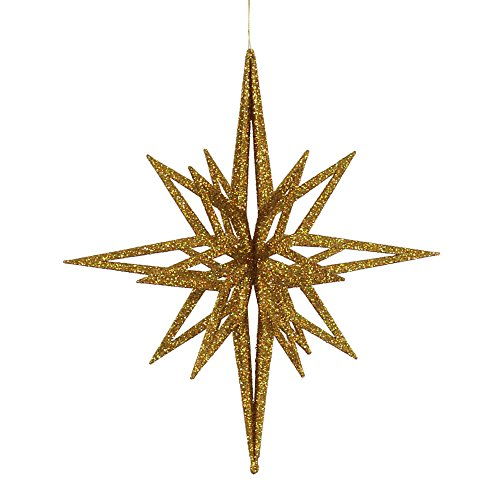 Vickerman Glittered 3-D Star Shaped Christmas Ornament, 16″, Gold
