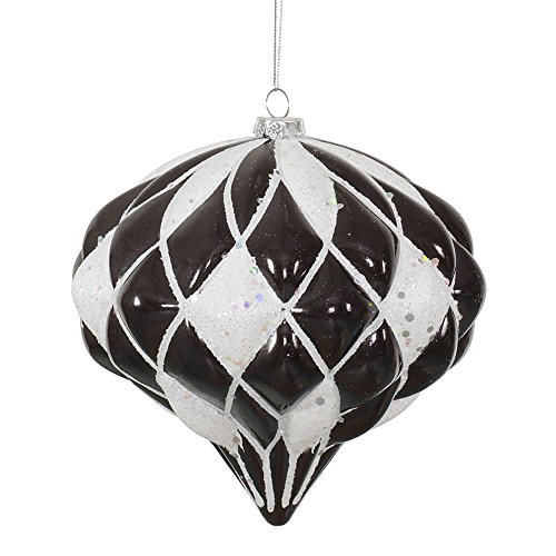 Vickerman Matte/Glitter Diamond Onion Ornament, 5.7-Inch, Black, White