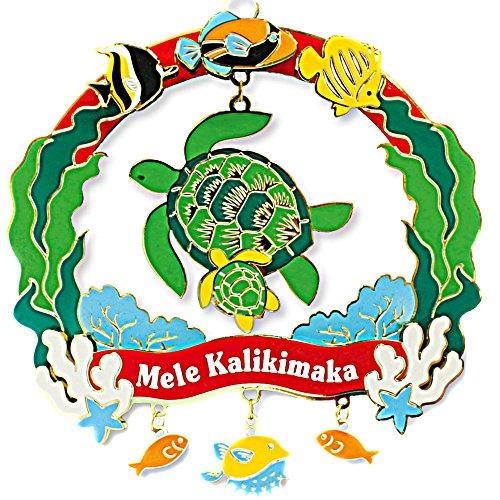 Hawaiian Honu Sea Life Turtle Mele Kalikimaka Metal Christmas Ornament