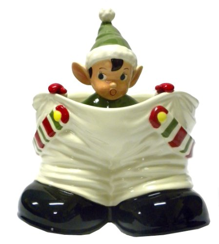 Christmas Elf in Santa Pants Ceramic Caddy Dish (Green)
