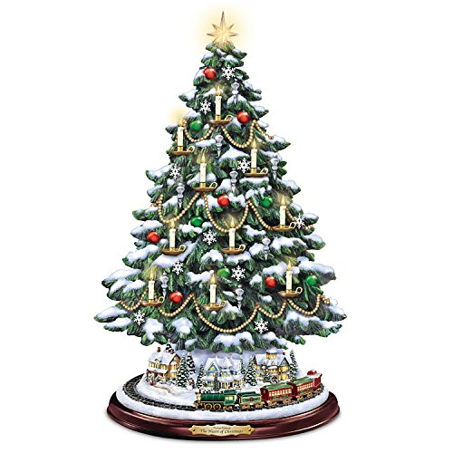 Thomas Kinkade Candlelit Tabletop Tree with Lights and Music and Rotating Train by The Bradford Exchange