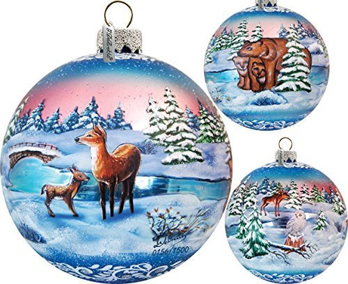 GDeBrekht 73847 Limited Edition Snowy Night Glass Ball Ornament