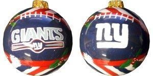 New York Giants Hand Painted Glass Ball Ornament