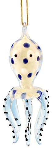 Glass Octopus Christmas Ornament, Blue, Glows in the Dark, 3.5 Inches by Beachcombers