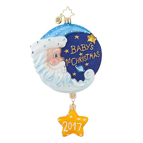 Christopher Radko Sleepytime Santa Blue 2017 Dated Baby's First Christmas Ornament – EXCLUSIVE