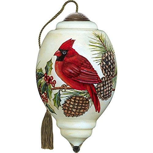 Precious Moments, Ne'Qwa Art 7171109 Hand Painted Blown Glass Petite Trillion Shaped Christmas Cardinal Ornament, 3-inches