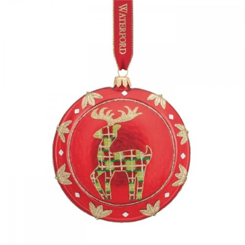 Waterford Red Reindeer Medallion Ornament