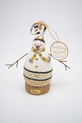 One Hundred 80 Degrees Mistletoes 4.5 Inch Peace Snowman Hanging Christmas Ornament By Debbie Taylor-Kerman VI0267