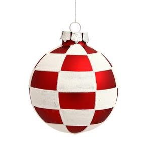 Vickerman Checkered Ball Ornaments, 3-Inch, Red and White, 4-Pack