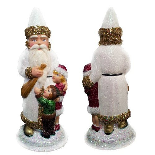 Ino Schaller Paper Mache Santa with Children Christmas Candy Container