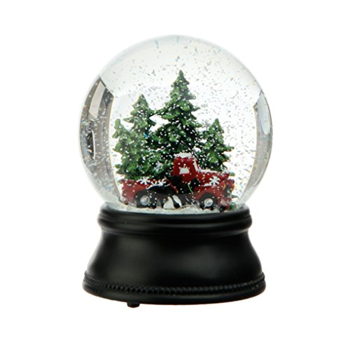 """RAZ Wind Up Musical Old Fashioned Truck, Dogs and Trees Snowglobe Plays """"Oh Christmas Tree"""""""