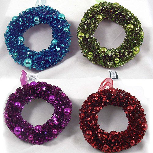 Jewel Tone Sparkling 6″ Candle Ring Wreaths CHRISTMAS S
