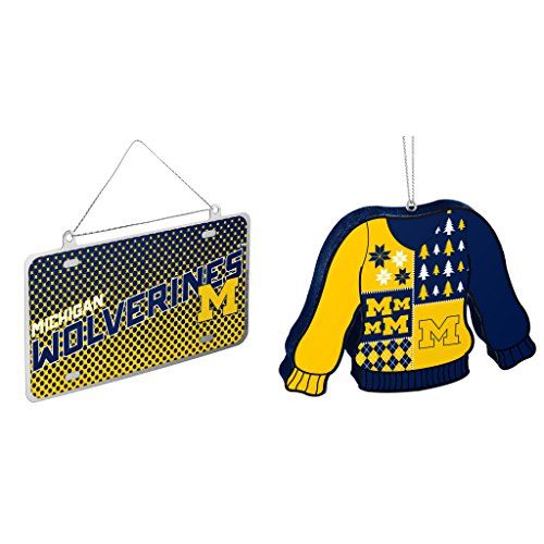 NCAA Michigan Wolverines Metal License Plate Christmas Ornament Foam Ugly Sweater Bundle 2 Pack By Forever Collectibles