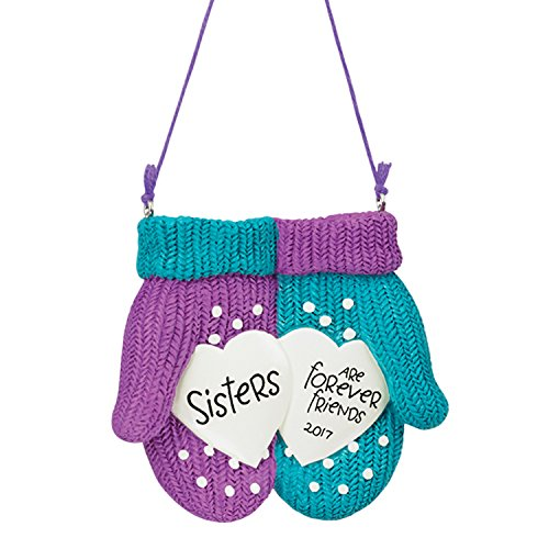 Carlton Ornament 2017 Sisters – Forever Friends – Mittens with Hearts – CXOR020M