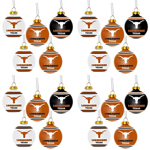 NCAA Texas Longhorns Plastic Christmas Ball Ornament 5 Pack Bundle 4 Pack By Forever Collectibles