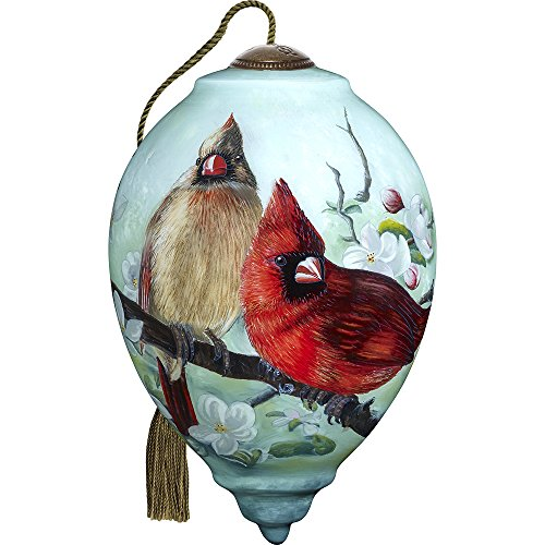 Precious Moments, Ne'Qwa Art 7171166 Hand Painted Blown Glass Standard Princess Shaped Orchard Cardinals Ornament, 5.5-inches